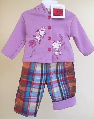 BNWT Baby Girls 2 Piece Fleece Hooded Jacket & Padded Trousers Age 18-23 Months