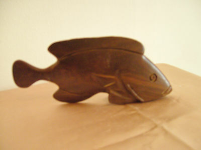 A Vintage Carved Rosewood Fish Ornament