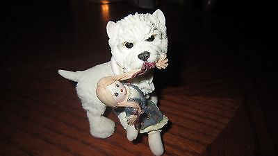 WESTIE Dog and Rag Doll Figurine COLLECTIBLE Resin Statue #02259