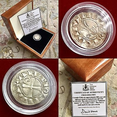 Boxed & Certified 800 Year Old London Mint Silver Helmeted Denier Crusader Coin