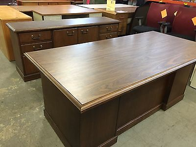 DESK & CREDENZA SET by KIMBALL OFFICE FURNITURE in WALNUT COLOR