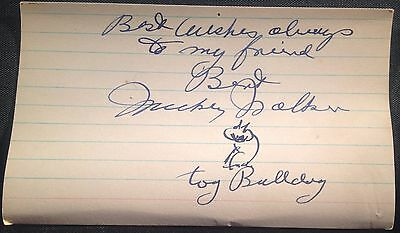 Autographed w drawing Boxing Hall of Fame, Mickey Walker, Bert Sugar Collection