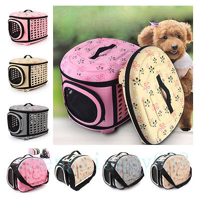 Portable Pet Dog Cat Sided Carrier Foldable Travel Tote Shoulder Bag Cage Kennel