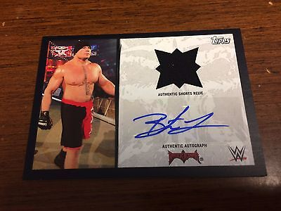 2016 WWE Topps Heritage BROCK LESNAR /99 AUTO AUTOGRAPH RELIC SP SHORTS JERSEY