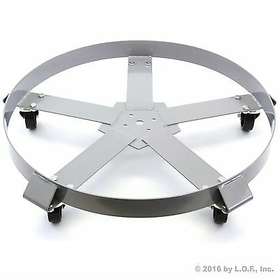 Drum Dolly 55 Gal 5 Wheel Swivel Casters Heavy Steel Frame Easy Roll 1250 lbs