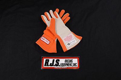 Rjs Racing Equipment Sfi 3.3/5 Double Layer Nomex Racing Gloves Sm Orange