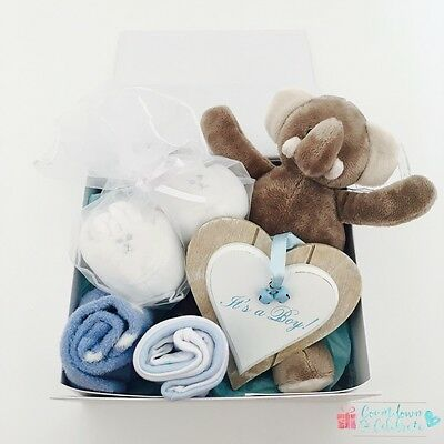 New Baby Boy Gift Box Hamper New Arrival Baby Shower Basket