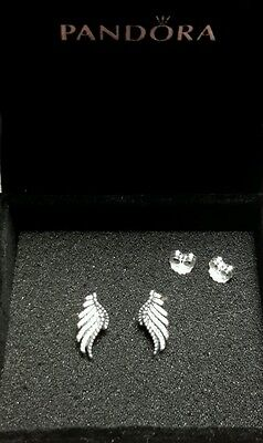 PANDORA MAJESTIC FEATHERS STUD EARRING 290581CZ Sterling Silver 925