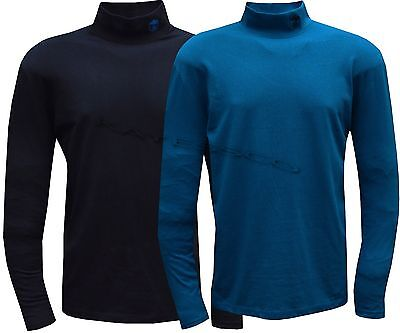 Mens 100% Cotton Turtle Neck Top Baselayer Winter Golf Top M - 3XL
