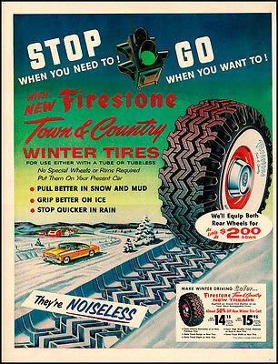 1955 Firestone Town & Country Tires Original Vintage Print Ad, Winter Snow Art