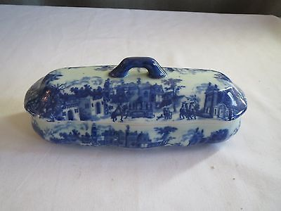 Vintage Victoria Ware Ironstone Flow Blue Village Covered Container Vanity