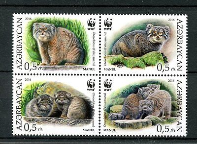 Azerbaijan 2016 MNH Manul WWF Pallas's Cat 4v Block Cats Wild Animals Stamps