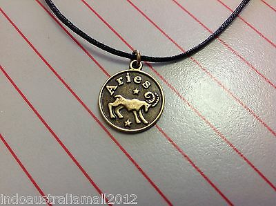 ARIES  Zodiac Sign Bronze Alloy Metal Pendant  on Black Cord Astrology(141280)