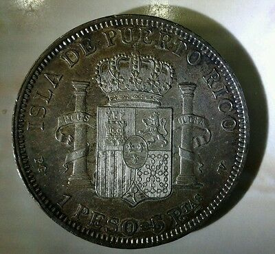 1895 Puerto Rico 1 Peso High Grade Condition Lamination Error