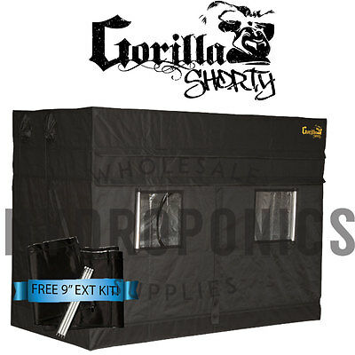 """Gorilla Grow Tent SHORTY 4' x 8' x 4' 11"""" GGT w/ FREE 9"""" Height Extension"""
