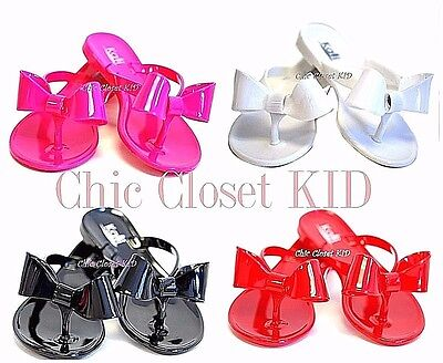 Child Girl Kid Summer Jelly Ribbon Bow Flip Flop Toddler Flat Water Sandals NEW
