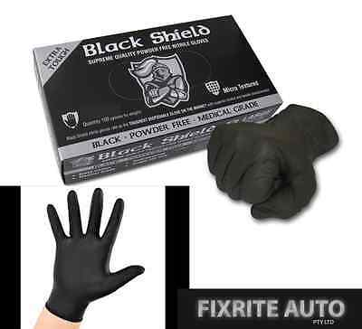 Black Shield Quality Industrial Nitrile Gloves XL Latex Mechanic Panel Medical