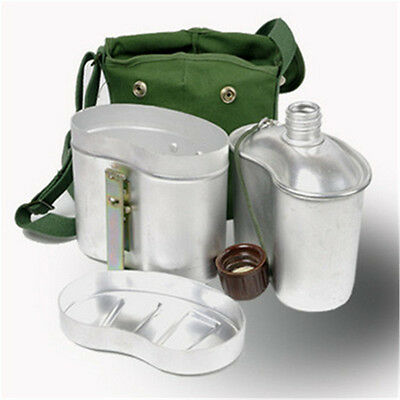 Outdoor Surplus Chinese Army PLA Aluminum Metal Lunch Boxes Kettle Canteen