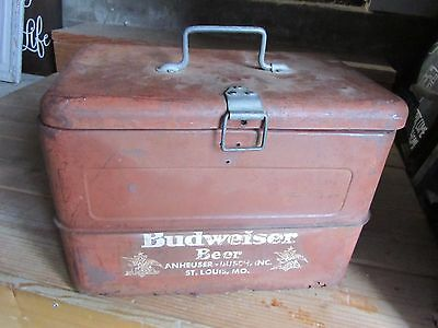 VINTAGE 1950'S BUDWEISER BEER METAL Ice Drink COOLER Rat Rod Advertising Sign