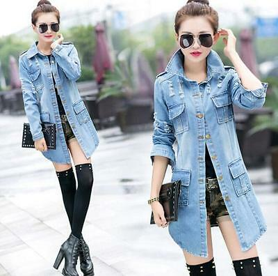 Women Girls Autumn Washed Denim Blue Worn-Out Trench Coat Jean Jacket Overcoat @