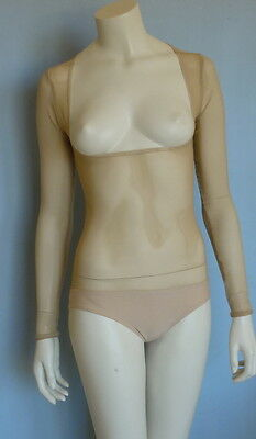 Skintone Mesh Body Stocking, Belly Dance, Costume Brief/Sleeves/Small