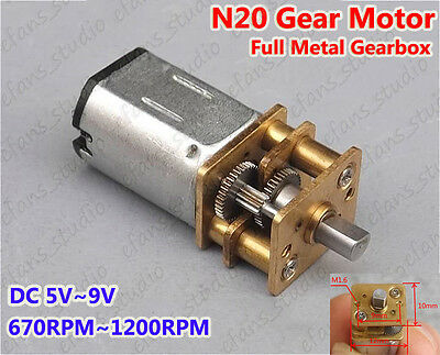 Micro N20 Gear Motor Speed Reduction Full Metal Gearbox DC 5V~9V 670RPM-1200RPM