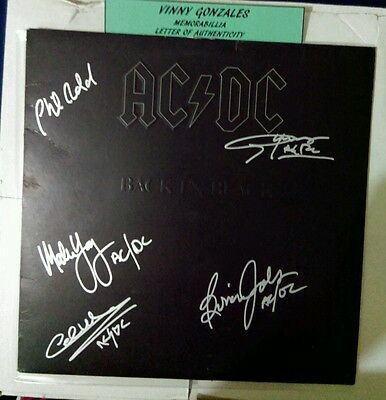ACDC signed Back in Black album all 5