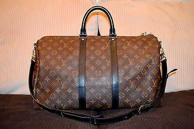Louis VUITTON AUTHENTIC Monogram MACASSAR KEEPALL 45 Bandouliere Travel Duffle