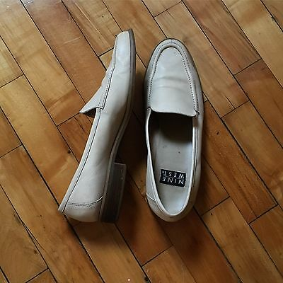 Vtg 90s Nine West Butter Soft Cream Yellow Leather Flats Loafers Shoes 10.5 M