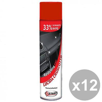 Set 12 Spray Lucida Cruscotto 600 Ml. Cura Pulizia E Lavaggio Automobile