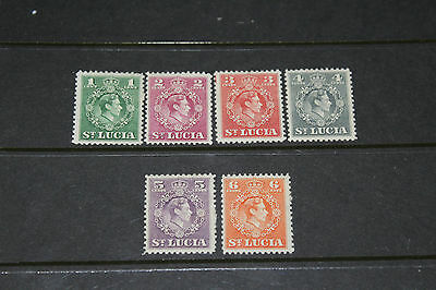 St. Lucia 1949 New Currency S/ Set Of 6 Fine Mint  M/h