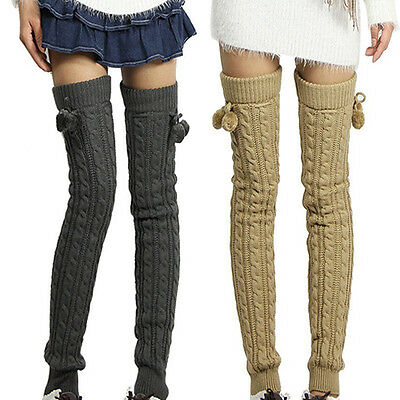 Lady Winter Crochet Knitted Footless Leg Warmers Boot Thigh High Socks Glaring