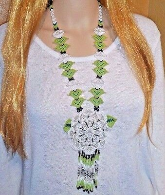 Huichol 3 D White Flower Necklace  Mexican  Nayarit Native Art