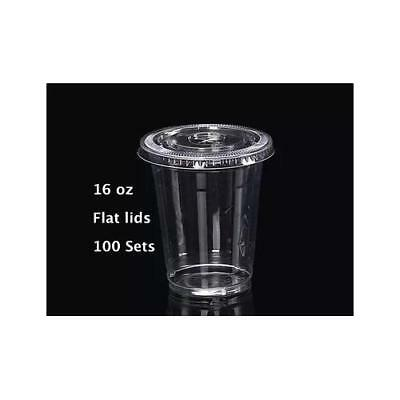 16 oz Plastic Clear Drink PET Cups with Flat Lids, 100 Sets New