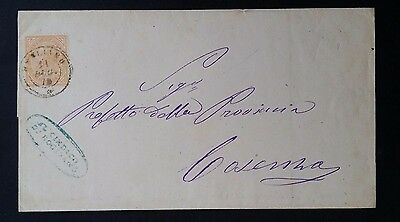 1876 Italy Folded Cover ties 10c orange King Victor Emmanuel II stamp to Cosenza
