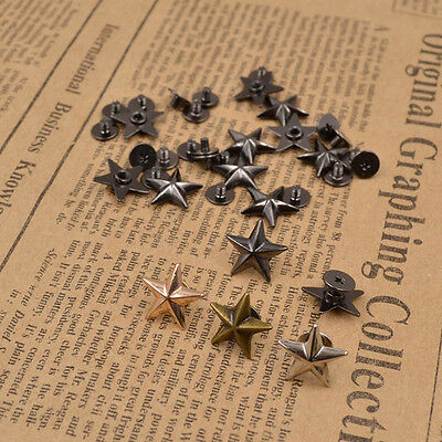10pcs Metal Star Studs Rivet Spike Screws for Leathercraft DIY Clothing Bags