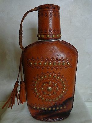 Collectible Vintage Brown Leather Flask with Drinking Cup
