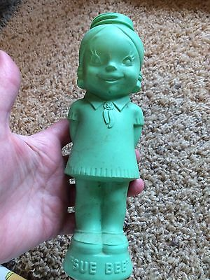 Vintage Sue Bee Honey Green Teal Plastic Girl Container Bottle Sioux City Iowa