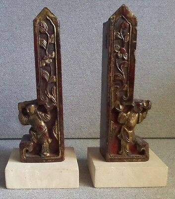 Vintage Bookend Set of 2 Carved Chinese Sculptures