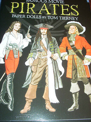 "RARE DOVER ""Famous Movie Pirates Paper Dolls by Tom Tierney"" NEW UNCUT J Depp"