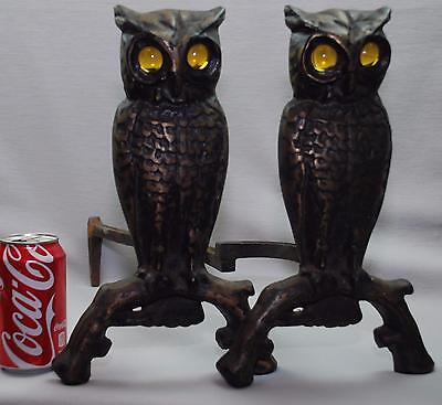 Pair of Vintage Antique Cast Iron Owl Fireplace Andirons w/ Amber Glass Eyes 13""