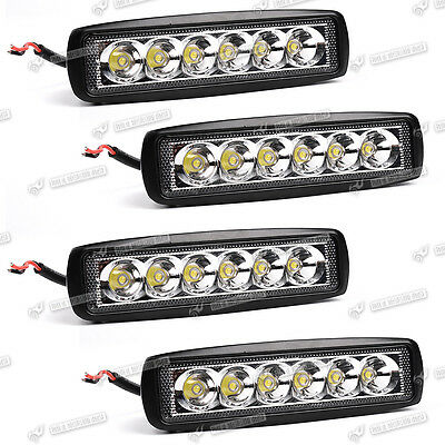 4PCS 6INCH 18W CREE Flood OFFROAD DRIVING WORK REVERSE LED LIGHT BAR WD10W