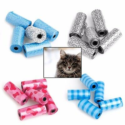 5 Rolls Pet Dog Cats Waste Pick Printing Degradable Poop Clean Up Bag & Refills