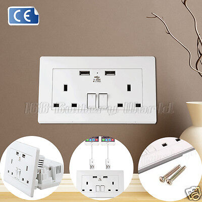 2.1A UK Double Socket USB 13A 2 Gang Port Electric Wall Plug with 2 USB Outlets
