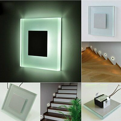 3W Warm White Recessed Square Indoor Outdoor Wall Stairs LED Guide Light Lamp