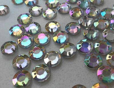 10mm x 100pcs Costume Applique Acrylic Crystal AB Round Faceted Sew-on 2 Holes