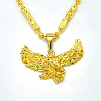 Heroic Eagle Pendant Necklace Chain Men's 24K Yellow gold Filled Jewelry Cool