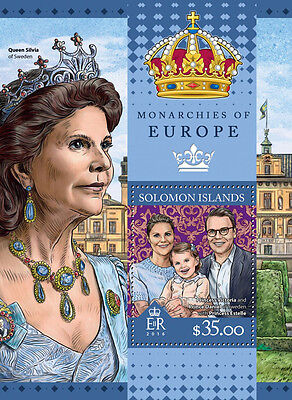 Solomon Islands 2016 MNH Monarchies of Europe 1v S/S Kings Queens Royalty Stamps