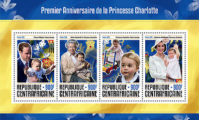 Central African Rep 2016 MNH Princess Charlotte 1st Anniv 4v M/S Royalty Stamps