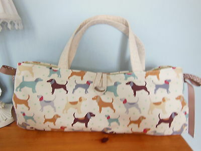 Hand Made Lovely Lined Knitting/craft Bag In Cute Dog Fabric Two Pockets